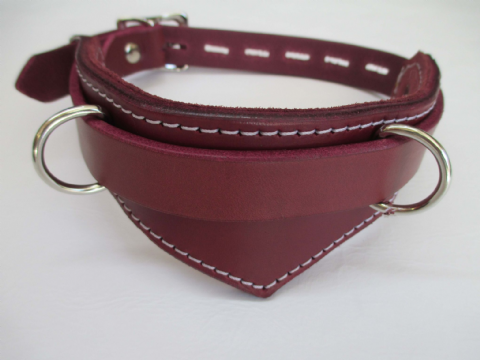 Oxblood Leather/Chianti Suede Lined Drop Front Design Collar